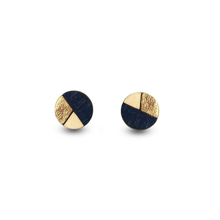 Amindy - Hand Painted Circle Sliced Earrings - Navy Blue &Gold Leaf - $22 - Shop online at www.amindy.com.au