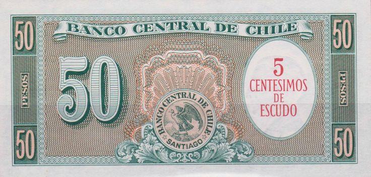 "Chile - Fifty Pesos Banknote (Cinco Condores). ""5 Centecimos de Escudo."" (Reverse Side)"