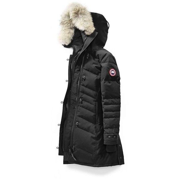 Canada Goose Women's Lorette Parka ($950) ❤ liked on Polyvore featuring outerwear, coats, black, canada goose, zip coat, canada goose parka, canada goose coats and parka coats