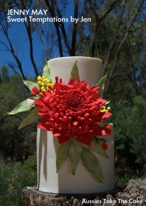 Simple and elegant Australian wildflower cake