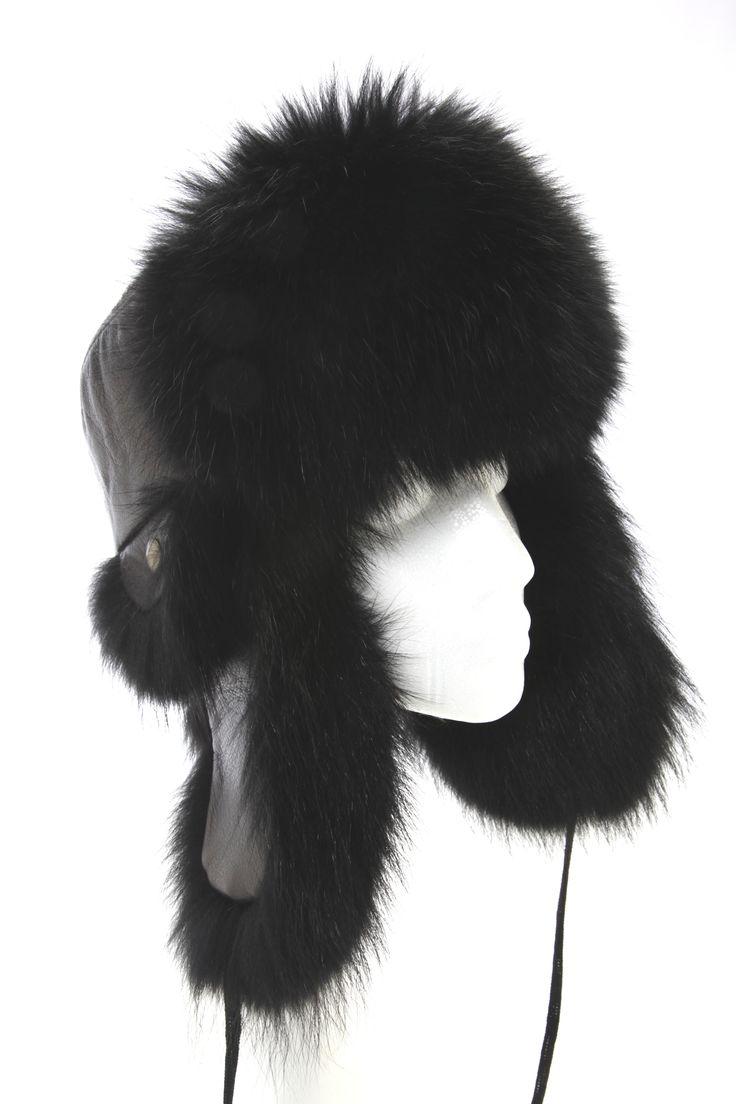 Chapeau aviateur Chat teint noir et cuir noir / Black raccoon and black leather aviator hat