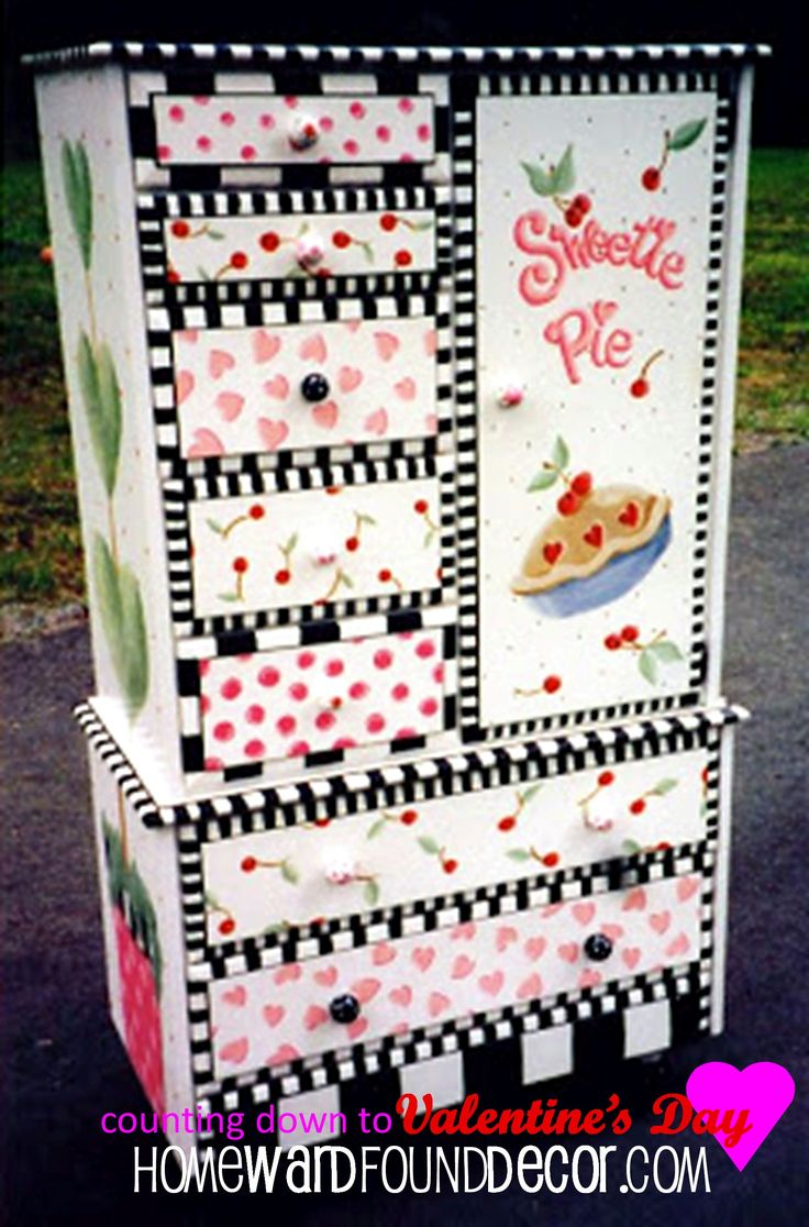 i painted this cabinet for twin girls, over 15 years ago! you can transform a cast-off piece of furniture in a similar way... with a little bit of paint and a whole lot of LOVE <3 http://www.homewardfounddecor.com