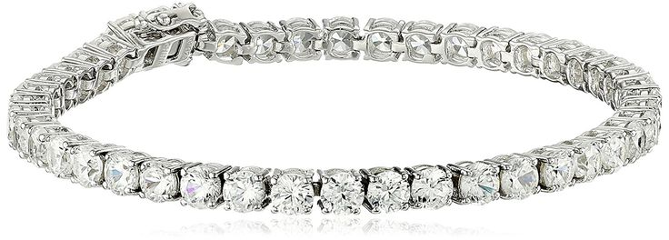Sterling Silver Natural White Zircon Round Tennis Bracelet, 7.25' *** Click image for more details. (This is an Amazon Affiliate link and I receive a commission for the sales)