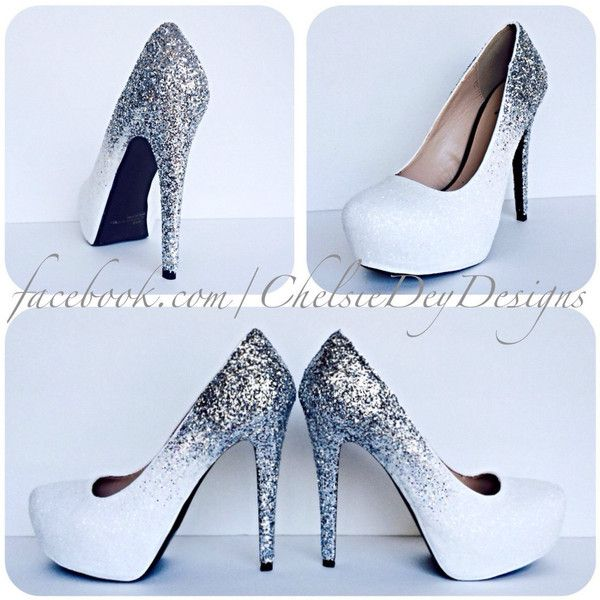 Silver Glitter High Heels White Irridescent Ombre Pumps Sparkly... (59225 SYP) ❤ liked on Polyvore featuring shoes, pumps, heels, silver, women's shoes, silver prom shoes, silver sparkle pumps, sparkly pumps, silver glitter pumps and high heeled footwear