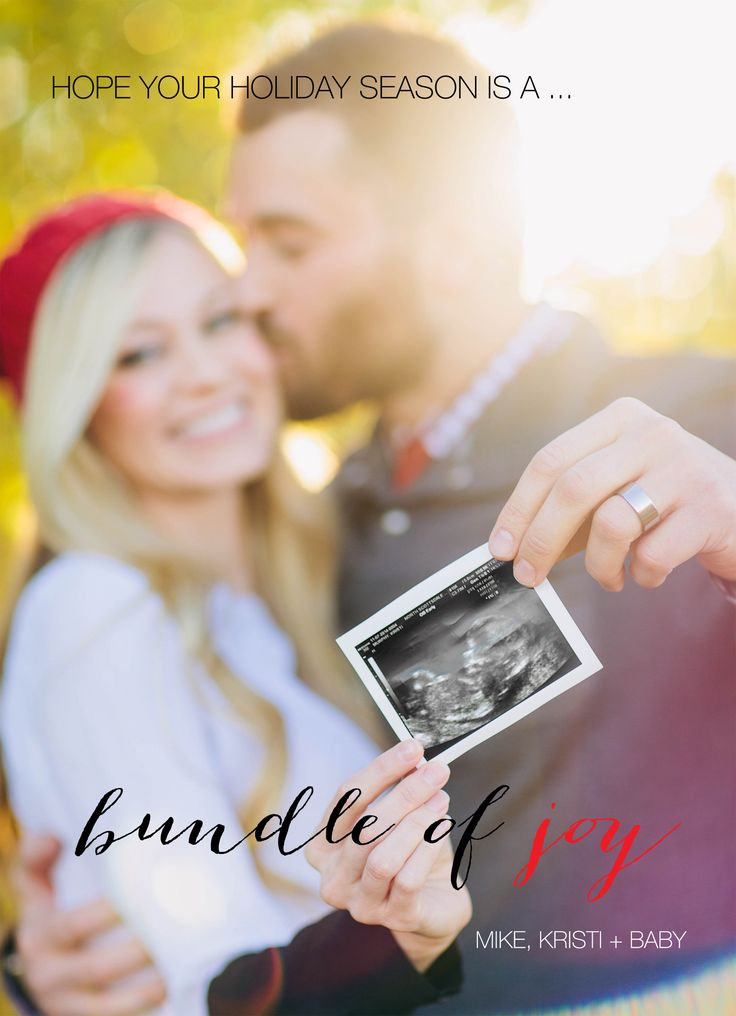 Here's a fun way to announce your pregnancy with your Christmas card photo.
