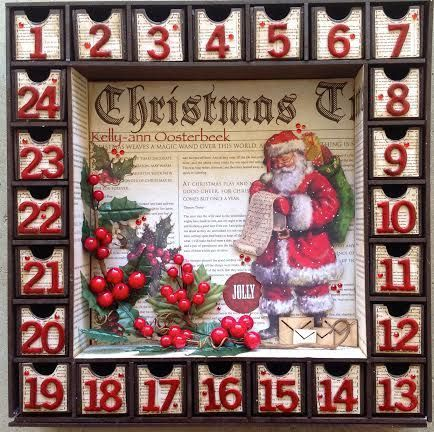 A BTP Christmas Count down box made using the Yuletide Collection from kaisercraft By Kelly-ann Oosterbeek.