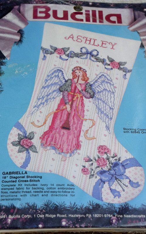 """Angel Christmas Stocking Counted Cross Stitch Kit. Measures 18"""" diagonal and includes Ivory count Aida cloth, fabric for backing, cotton embroidery floss, metallic thread, needle, easy to follow instr"""