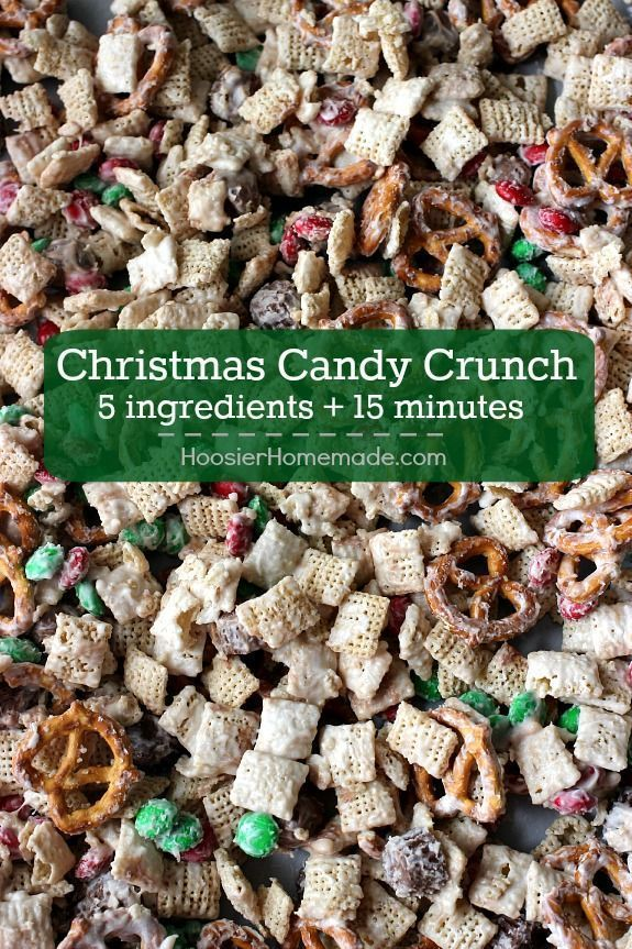 Whip up this Christmas Candy Crunch in 15 minutes or less and ONLY 5 ingredients! Perfect for Holiday Gift Giving! Pin to your Christmas Board!