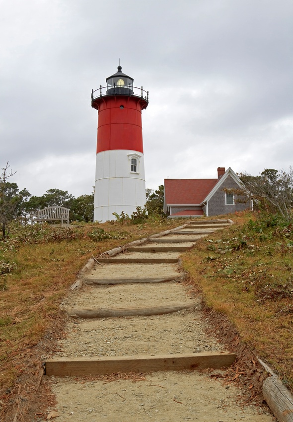 """""""Nauset Lighthouse"""" -- Stairs lead up to this Cape Cod Lighthouse - Cape Cod National Seashore, Massachusetts."""