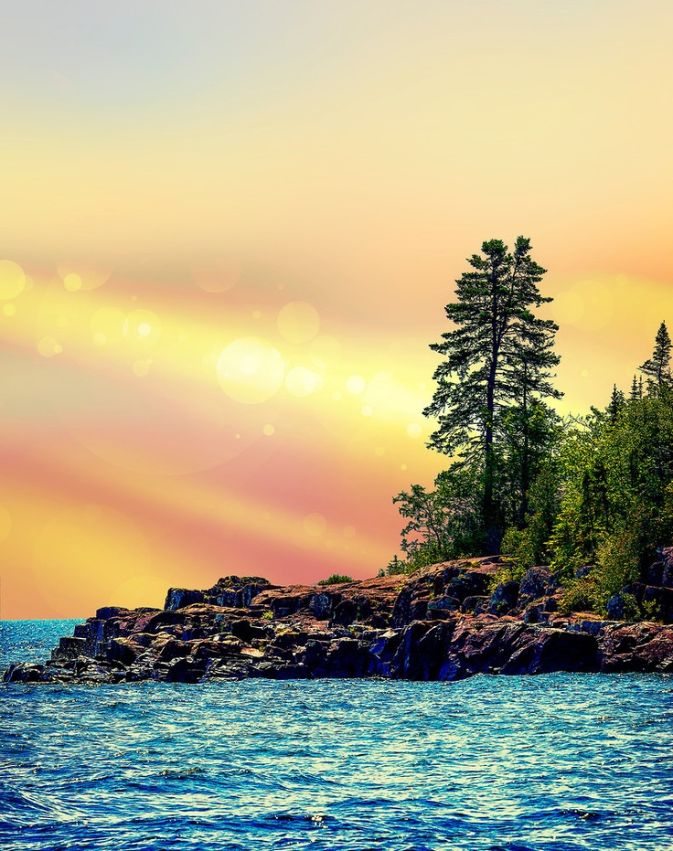 Water sparkles as the sun sets along the North Shore of Lake Superior in Minnesota