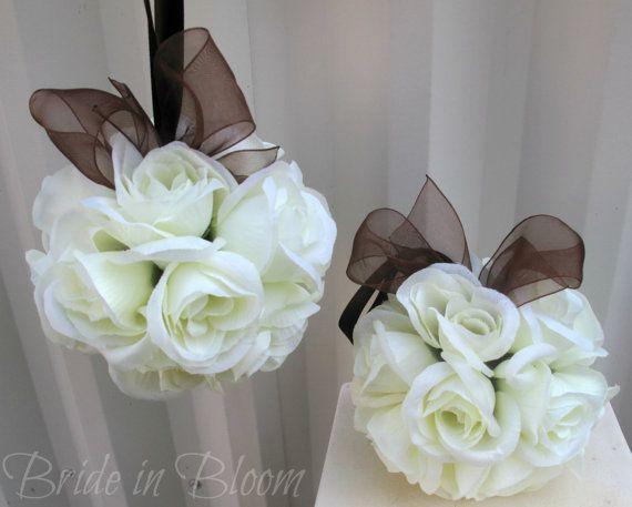 Wedding flower balls pomander ivory brown by BrideinBloomWeddings, $15.00