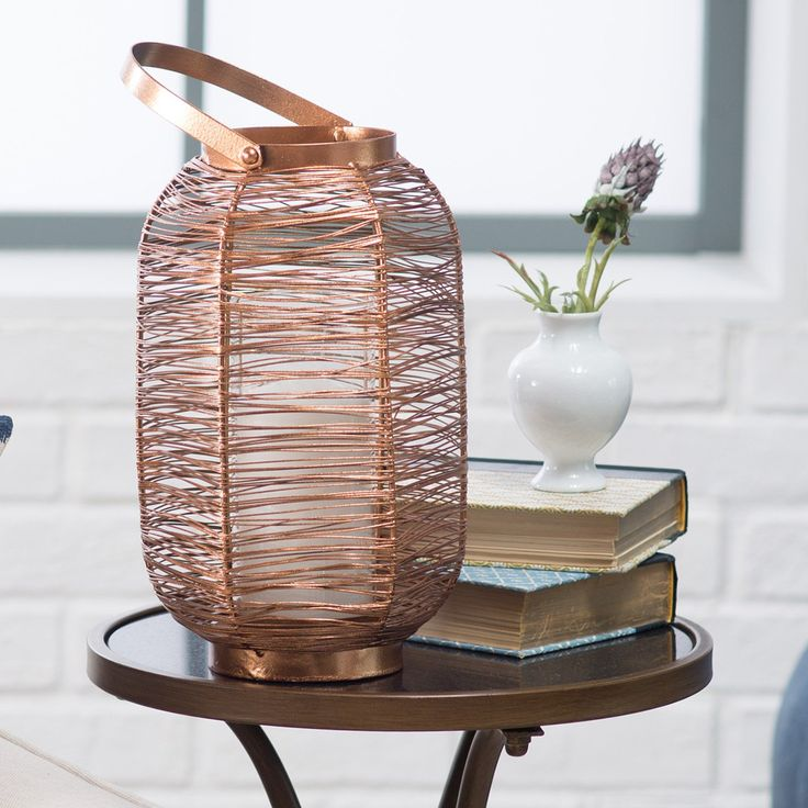 Kiran 15.75 inch Copper Painted Lantern - Candle Holders & Candles at Hayneedle