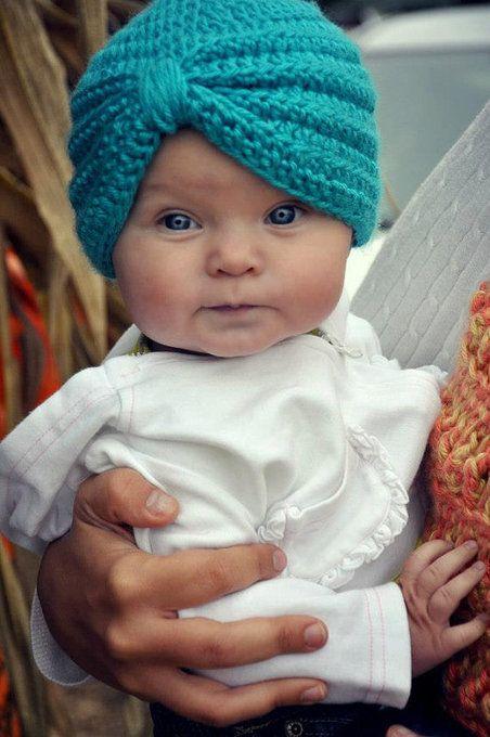 Crochet Baby Turban by SMartPotter NOT the pattern, but isn't it cute? $18.95...