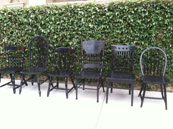 Farmhouse Chairs, Set Of 6, Dining Chairs, Black, Shabby Chic, Mix