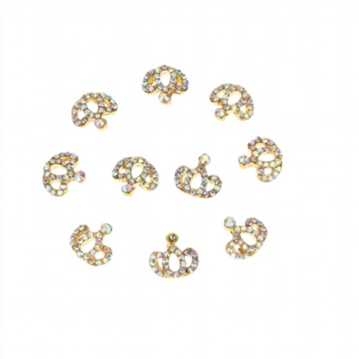 10Pcs Golden Crown Nail Art Tips DIY Decorations Glitter Nail Tools Hollowed-out and Shining