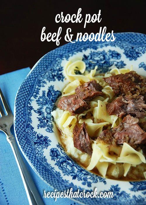 Crock Pot Beef and Noodles - Old fashioned taste made easy! #CrockPot #ComfortFood