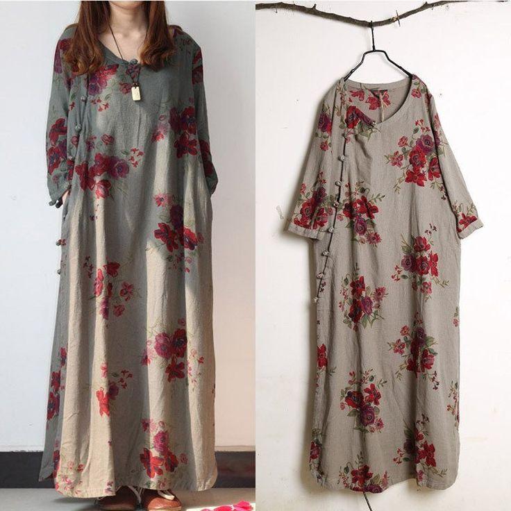 Women cotton linen print dress