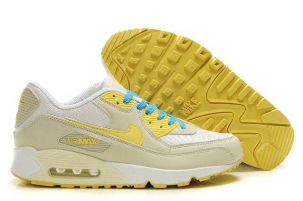 newest 13b5d 5499c ... Nike Air Max 90 Zapatillas para Hombre BeigeBlancas-Amarillas-Azules  http ...