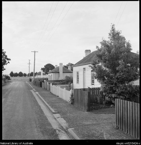 Cottages with fences, Evandale, Tasmania, ca. 1970