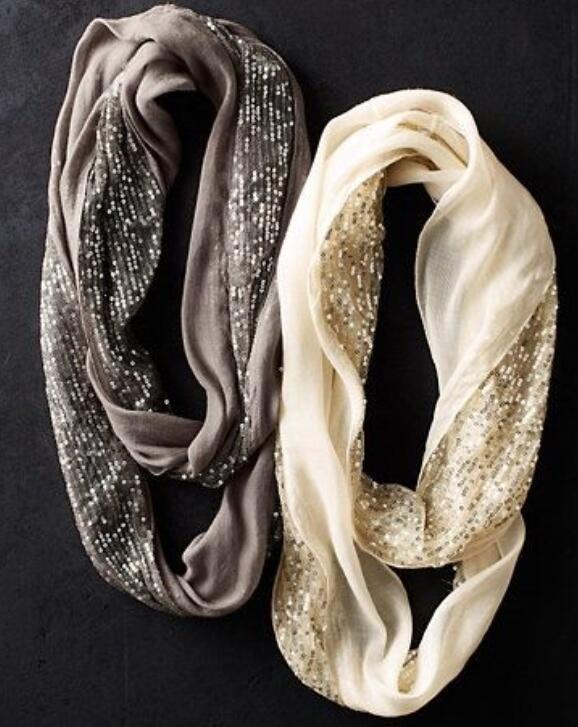 Glitter infinity scarves.