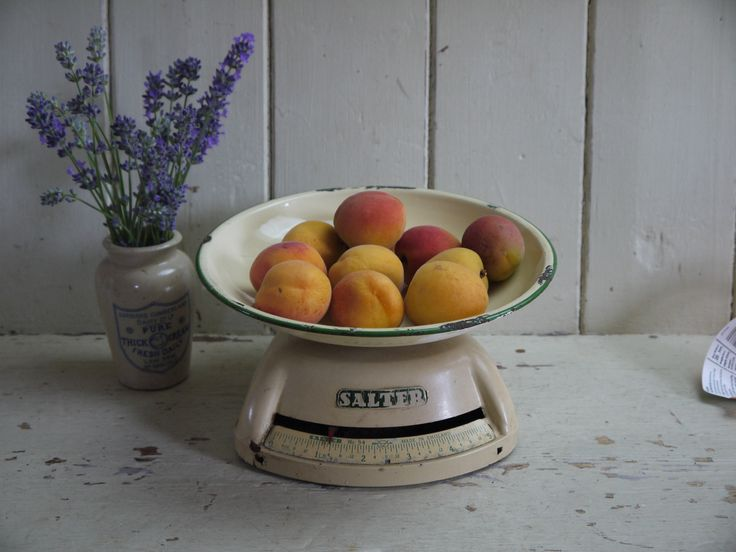 RESERVED MARYANNE Vintage Salter Scales - Cream & Green - 1940s by VintiqueTree on Etsy