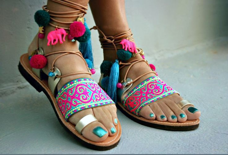 pom pom decorated sandals