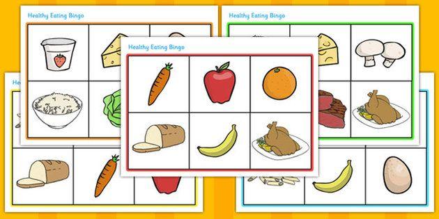 Egészséges táplálkozás Élelmiszer Bingo - bingó, játék, tevékenység, egészséges táplálkozás, egészséges, élelmiszer, élelmiszer bingó, sárgarépa, alma, gyümölcs, zöldség