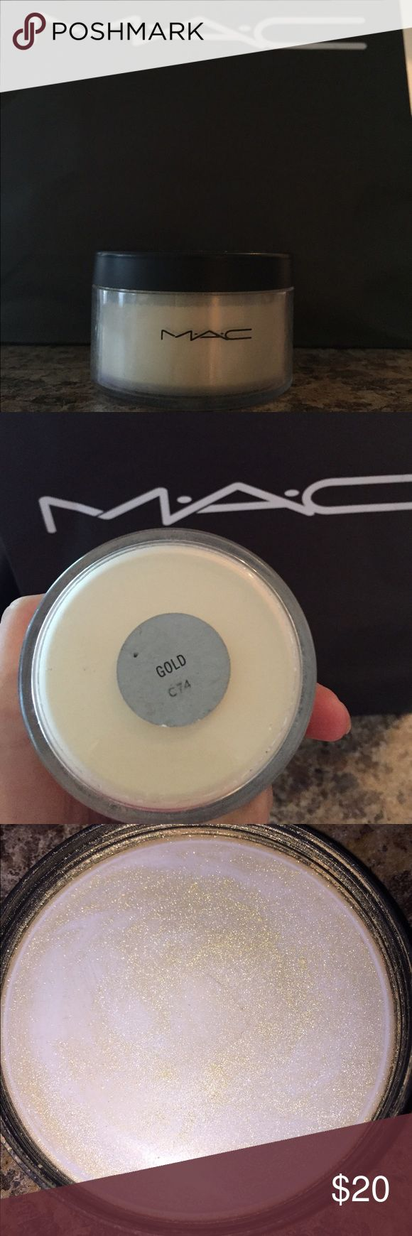"""MAC C74 """"GOLD"""" highlighter... This is the Mac Pro gold highlighter. Can only be purchased at a pro location. I bought it thinking it would work to replace my copper highlighter. But it doesn't. Selling for a very fair price. It has only been tested. MAC Cosmetics Makeup Luminizer"""