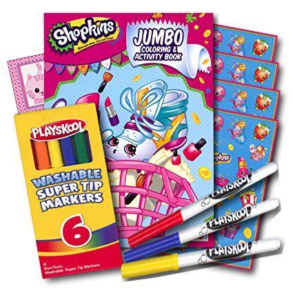 Shopkins libro para colorear con pegatinas y marcadores lavables ~ 96 Página del libro de colorante, Shopkins pegatinas, marcadores lavables y de experiencia para el parachoques!