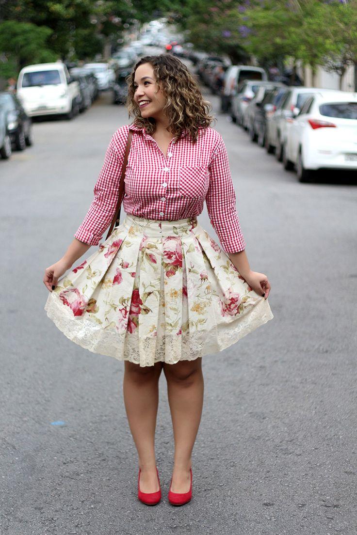 Look do Dia: Mix de estampas floral + vichy | Salto Agulha