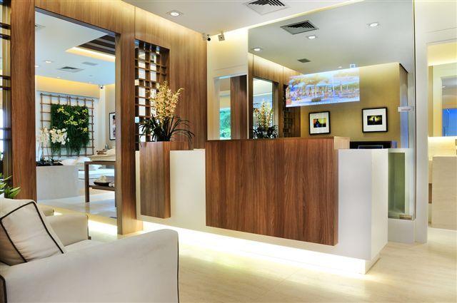 sala comercial, recepção, spa, espaço zen, balcão, decoração, ambiente decorado, by quitetefaria