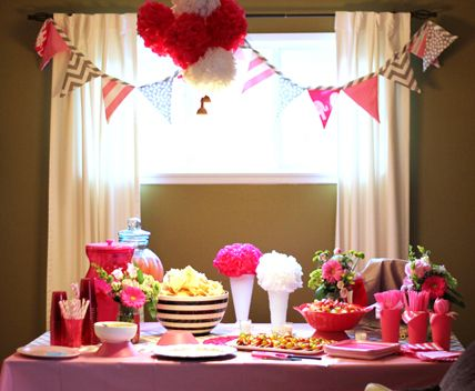 Baby girl pink shower.  Find fun papers to make this flag garland that Penny can use in her room.