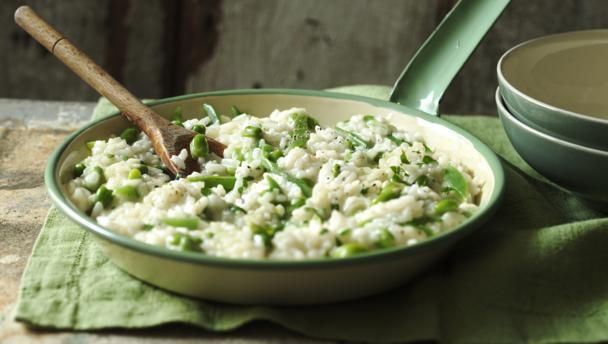 Broad bean and runner bean risotto |      This is a wonderful summer dish and perfect for using up a glut of runner beans. This recipe cuts out all the usual stirring in a risotto making it really easy too.
