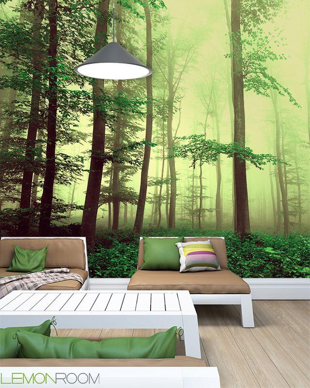 #Fototapeta Las >> http://lemonroom.pl/fototapeta-0-wyniki-wyszukiwania-83272153-Fantasy-yellow-green-foggy-beech-tree-forest.html