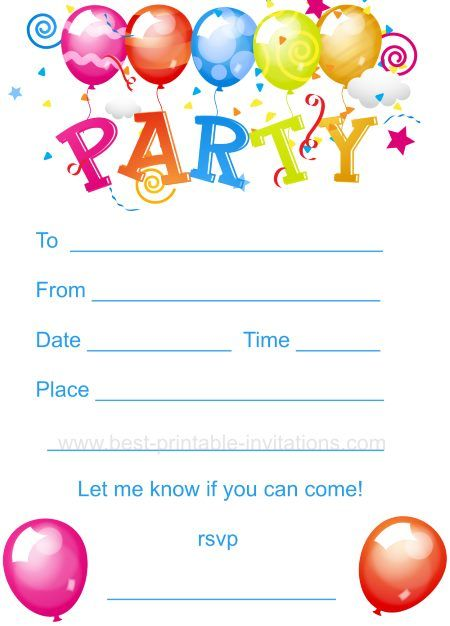 42 best Birthday images – Free Kids Birthday Party Invitations