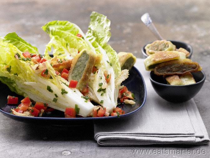 Gebratene Maultaschen mit Römersalat und Paprika - smarter - Kalorien: 460 Kcal   Zeit: 20 min.