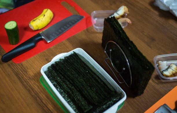 ingredients for sushi and rolls preparation of food