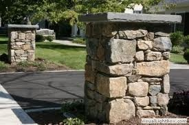 Driveway stone pillars. I would love to make these myself and maybe make them hollow to use for flowers.