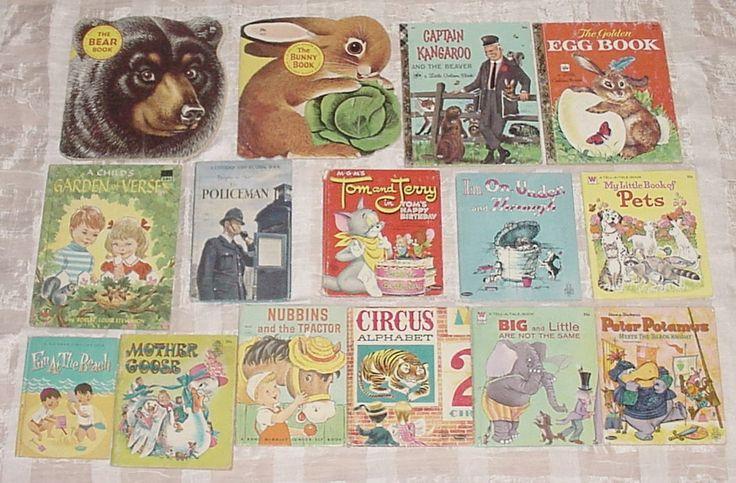 VINTAGE Illustrated CHILDRENS BOOKS Lot/15 Little Golden,Shape,Tell a Tale,Elf,Wonder,Captain Kangaroo,Richard Scarry Bunny,Circus Alphabet by ReTroStyleMerCantile on Etsy