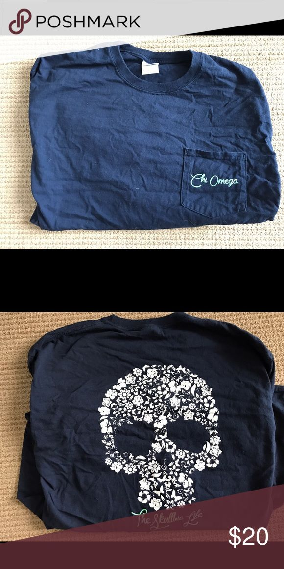 Long sleeve navy crew neck Chi Omega shirt Navy Chi Omega long sleeve crew neck shirt with turquoise Chi Omega lettering on front left chest pocket and skull made of white flowers on the back! Size large! Gildan Tops Tees - Long Sleeve