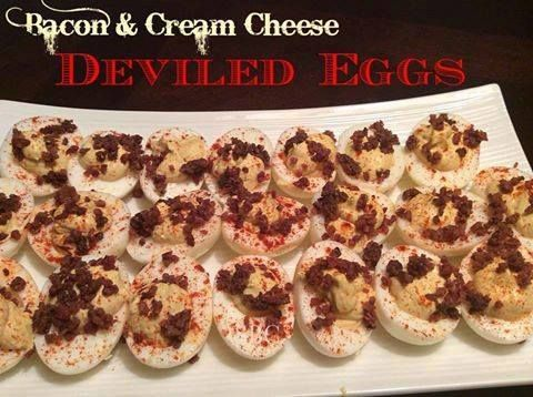 BACON & CREAM CHEESE DEVILED EGGS - Pinner says they are the BEST deviled eggs ever! (And they're low-carb, too.) Made these for Super Bowl and they went quickly. Made as directed except I didn't have any cayenne pepper. Mustard taste was pronounced, so adjust this to your taste. Will definitely make again!