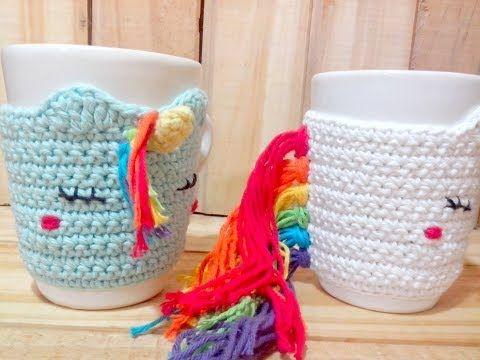 Unicornio crochet: Funda de taza Unicornio tejido a crochet - YouTube