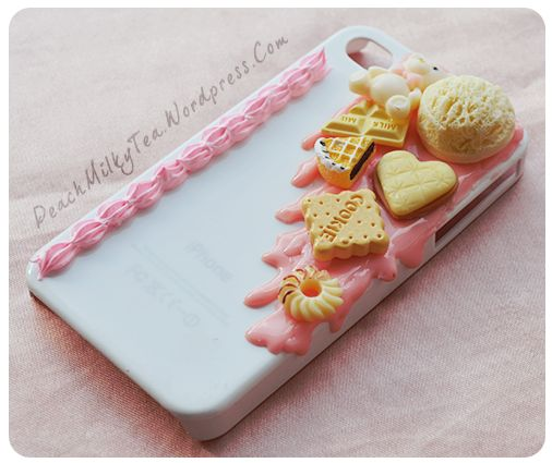 A cute handmade phone case decorated with kawaii food, fake icing and fake pink sauce. This phone case will fit iPhone 4 or iPhone4s only.  Thank you~ <3