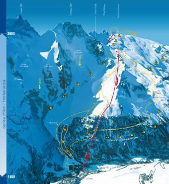 plan du domaine de La Grave! 6700' of vert! No ski patrol, no groomers just pure mountain!