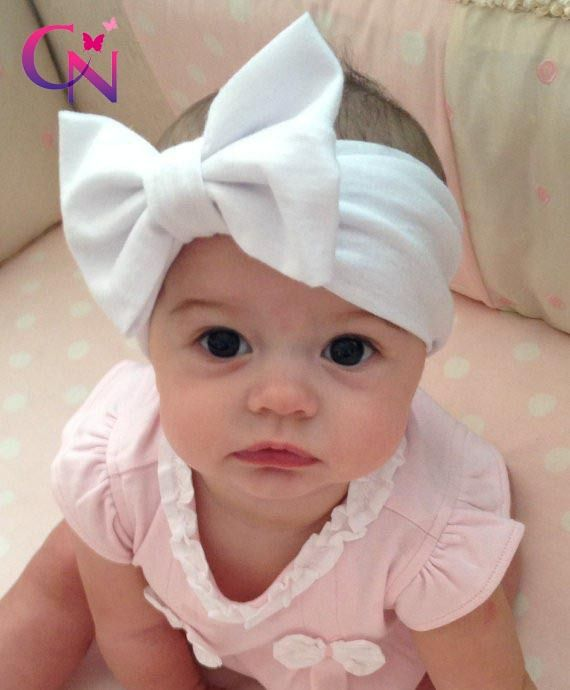 New Fashion Baby Solid Cotton Hair Bow Headband Toddler Handmade Stretch  Headwraps With Bow Boutique Cute Hair Accessories  18f1f6008