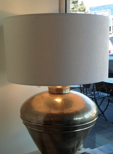 Elliptic Pewter Lamp with Linen Drum shade