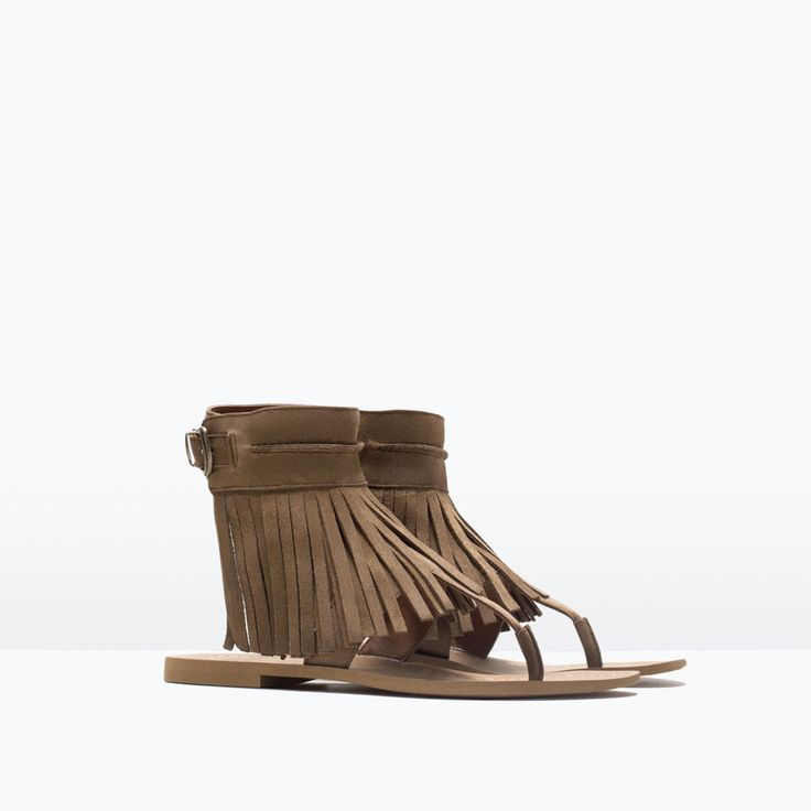 Image 2 of FRINGED LEATHER SANDALS from Zara