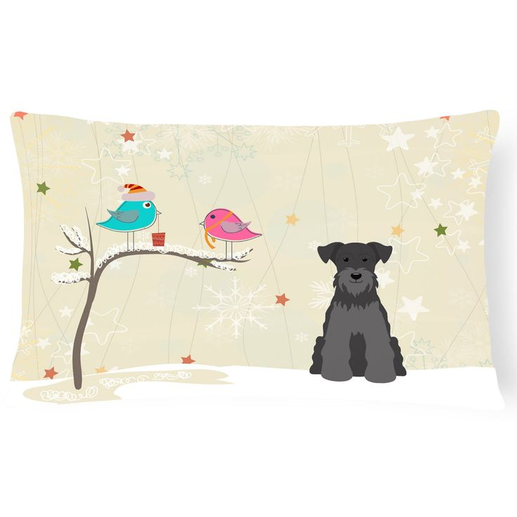 Carolines Treasures Christmas Presents Between Friends Miniature Schnauzer Outdoor Pillow - BB2523PW1216
