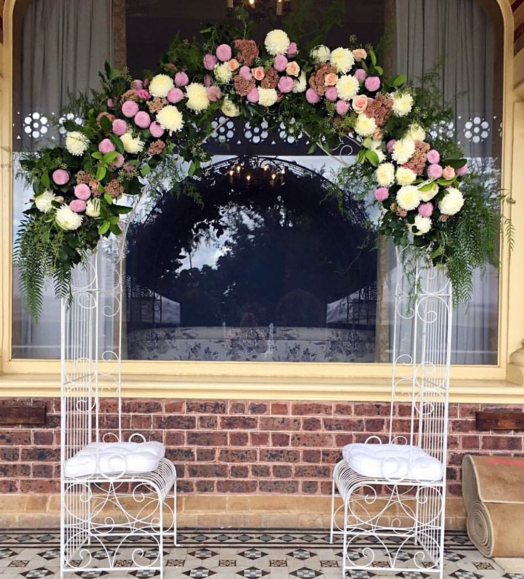 Floral wedding love seat arch!