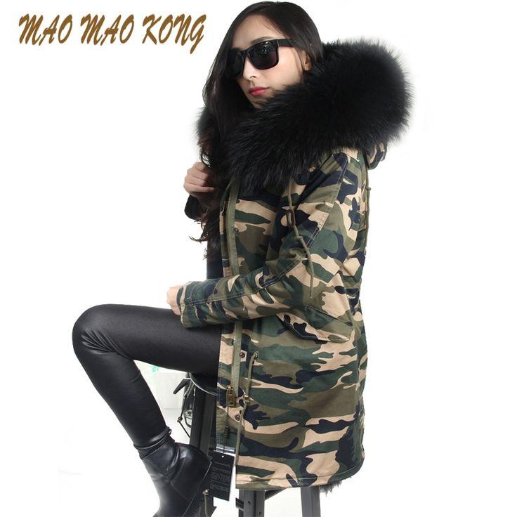 167.42$  Watch now  - hot sale 2017 brand new big raccoon natural real fur coats for women winter jacket long winter coat women parka Thick warm liner